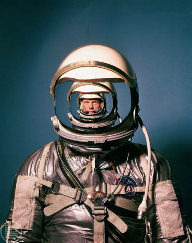 man in spacesuit getting smaller and smaller